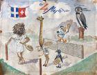 Σκίτσο που εμφανίστηκε στον περιοδικό Τύπο την δεκαετία του 60, παρομοιάζοντας με ζώα τους καλύτερους αθλητές του ελληνικού τένις. Ο Λάζαρος Στάλιος είναι το 'λιοντάρι'.