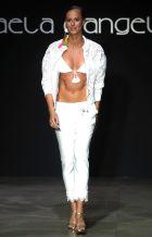 Italian swimmer Federica Pellegrini presents a creation by Italian fashion lab Raffaela D'Angelo during the Women's  Fashion Week, in Milan, 24 September 2016. The Milano Moda Donna runs from 21 to 27  September. ANSA / MATTEO BAZZI