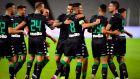 Οι παίκτες του Παναθηναϊκού πανηγυρίζουν το γκολ που πέτυχαν στη φιλική αναμέτρηση με αντίπαλο τη Μπεσίκτας στο 'Βόνταφον Παρκ' της Κωνσταντινούπολης, Σάββατο 10 Αυγούστου 2019