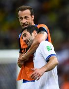 FORTALEZA, BRAZIL - JUNE 24:  Vangelis Moras (L) and Giorgos Karagounis of Greece celebrate after defeating the Ivory Coast 2-1 during the 2014 FIFA World Cup Brazil Group C match between Greece and the Ivory Coast at Castelao on June 24, 2014 in Fortaleza, Brazil.  (Photo by Jamie McDonald/Getty Images)