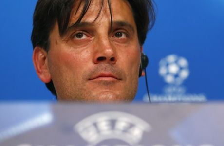 Sevilla coach Vincenzo Montella attends a news conference prior to the Champions League quarterfinal second leg soccer match between FC Bayern Munich and Sevilla FC at the Allianz Arena stadium in Munich, Germany, Tuesday, April 10, 2018. Bayern will face Sevilla Wednesday. (AP Photo/Matthias Schrader)