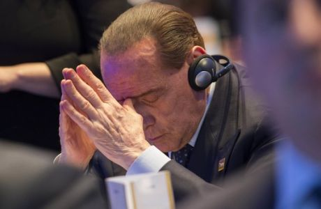 Former Italian Premier Silvio Berlusconi attends the European Peoples Party congress, in St. Julian's, Malta, Thursday, March 30, 2017. (AP Photo/Rene Rossignaud)
