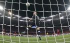 Liverpool goalkeeper Loris Karius can't stop the ball shot by Real Madrid's Gareth Bale during the Champions League Final soccer match between Real Madrid and Liverpool at the Olimpiyskiy Stadium in Kiev, Ukraine, Saturday, May 26, 2018. (AP Photo/Pavel Golovkin)