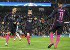 Barcelona's scorer Lionel Messi, center, and his teammates Luis Suarez, left, and Neymar, right, celebrate the opening goal during the Champions League group C soccer match between Manchester City and Barcelona at the Etihad stadium in Manchester, England, Tuesday, Nov. 1, 2016. (AP Photo/Rui Vieira)