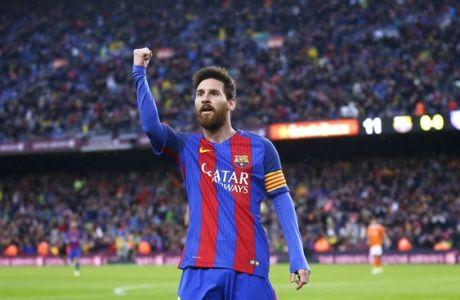 FC Barcelona's Lionel Messi celebrates after scoring during the Spanish La Liga soccer match between FC Barcelona and Osasuna at the Camp Nou stadium in Barcelona, Spain, Wednesday, April 26, 2017. (AP Photo/Manu Fernandez)