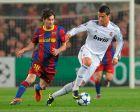 """Μέσι και Ρονάλντο στον δεύτερο ημιτελικό του Champions League της σεζόν 2010/11, στο """"Καμπ Νόου"""" (3/5/2011)."""