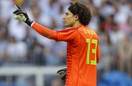 Mexico goalkeeper Guillermo Ochoa gestures during the group F match between Germany and Mexico at the 2018 soccer World Cup in the Luzhniki Stadium in Moscow, Russia, Sunday, June 17, 2018. (AP Photo/Victor R. Caivano)