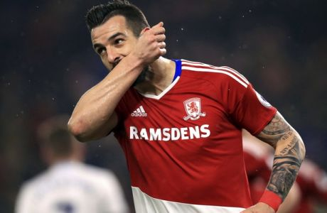 Middlesbrough's Alvaro Negredo celebrates scoring his side's first goal of the game from the penalty spot during the English Premier League soccer match between Middlesbrough and West Bromwich Albion, at the Riverside Stadium, in Middlesbrough, England, Tuesday Jan. 31, 2017. (Mike Egerton/PA via AP)