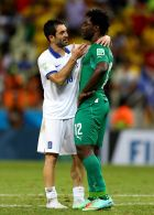 FORTALEZA, BRAZIL - JUNE 24:  Giorgos Karagounis of Greece speaks to Wilfried Bony of the Ivory Coast after Greece's 2-1 win during the 2014 FIFA World Cup Brazil Group C match between Greece and the Ivory Coast at Castelao on June 24, 2014 in Fortaleza, Brazil.  (Photo by Michael Steele/Getty Images)