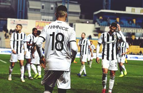 Οι παίκτες του ΠΑΟΚ πανηγυρίζουν γκολ στην αναμέτρηση με τον Παναιτωλικό για τη Super League 1 2019-2020 στο Γήπεδο Παναιτωλικού, Κυριακή 15 Δεκεμβρίου 2019