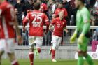 Bayern's Arjen Robben, second right, celebrates after scoring his side's opening goal during the German Bundesliga soccer match between FC Bayern Munich and FSV Mainz 05 at the Allianz Arena stadium in Munich, Germany, Saturday, April 22, 2017. (AP Photo/Matthias Schrader)