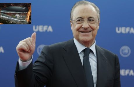 Real Madrid President Florentino Perez gives a thumps up as he arrives for the UEFA Champions League draw at the Grimaldi Forum, in Monaco, Thursday, Aug. 30, 2018. (AP Photo/Claude Paris)