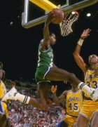 1988-1989:  Guard Rolando Blackman of the Dallas Mavericks (left) goes up for two as center Kareem Abdul-Jabbar of the the Los Angeles Lakers tries to block the shot during a game at the Great Western Forum in Inglewood, California. Mandatory Credit: Step