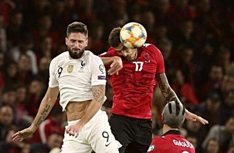 Στιγμιότυπο από τον αγώνα Αλβανία-Γαλλία για τα Προκριματικά του Euro 2020