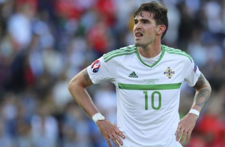 Northern Ireland's Kyle Lafferty reacts at the end of the Euro 2016 round of 16 soccer match between Wales and Northern Ireland, at the Parc des Princes stadium in Paris, Saturday, June 25, 2016. (AP Photo/Thibault Camus)