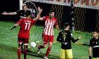Ο Ανδρέας Μπουχαλάκης του Ολυμπιακού πανηγυρίζει γκολ που σημείωσε κόντρα στον Άρη για τη Super League Interwetten 2020-2021 στο 'Κλεάνθης Βικελίδης' | Σάββατο 28 Νοεμβρίου 2020