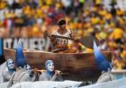 SAO PAULO, BRAZIL - JUNE 12: A performer is carried in a boat during the Opening Ceremony of the 2014 FIFA World Cup Brazil prior to the Group A match between Brazil and Croatia at Arena de Sao Paulo on June 12, 2014 in Sao Paulo, Brazil.  (Photo by Buda Mendes/Getty Images)