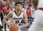 Gonzaga forward Brandon Clarke (15) looks to pass the ball during the second half of an NCAA college basketball game against San Diego in Spokane, Wash., Saturday, Feb. 2, 2019. (AP Photo/Young Kwak)