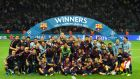 BERLIN, GERMANY - JUNE 06:  The Barcelona team celebrate victory after the UEFA Champions League Final between Juventus and FC Barcelona at Olympiastadion on June 6, 2015 in Berlin, Germany.  (Photo by Shaun Botterill/Getty Images)