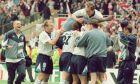 Παίκτες της Αγγλίας πανηγυρίζουν την πρόκριση επί της Ισπανίας από τα προημιτελικά του Euro 1996 στο 'Γουέμπλεϊ', Λονδίνο, Σάββατο 22 Ιουνίου 1996