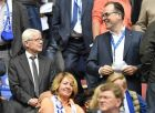 Schalke boss Clemens Toennies, right, smiles to Dortmund president Reinhard Rauball, left, prior to the German Bundesliga soccer match between FC Schalke 04 and Borussia Dortmund in Gelsenkirchen, Saturday, April 1, 2017. (AP Photo/Martin Meissner)