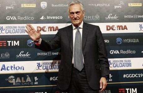 Ο πρόεδρος της ιταλικής ομοσπονδίας ποδοσφαίρου, Γκαμπριέλε Γκραβίνα, στο Gran Gala του Μιλάνου, στις 2 Δεκεμβρίου 2019. (AP Photo/Antonio Calanni)