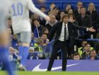 Chelsea head coach Antonio Conte gestures to his players during the English League Cup soccer match between Chelsea and Everton at Stamford Bridge stadium in London, Wednesday Oct. 25, 2017. (AP Photo/Alastair Grant)