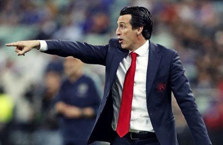 Ο Ουνάι Έμερι ως προπονητής της Άρσεναλ κατά τη διάρκεια του τελικού του Europa League με αντίπαλο την Τσέλσι