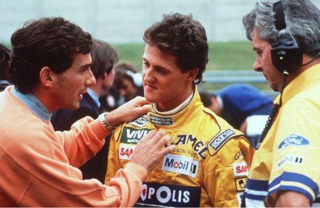 SPA-FRANCORCHAMPS, BELGIUM - AUGUST 30:  GP VON BELGIEN 1992, Spa; Ayrton SENNA, SIEGER Michael SCHUMACHER/GER - BENETTON FORD -  (Photo by Bongarts/Getty Images)
