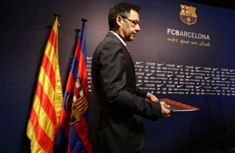 FC Barcelona's president Josep Maria Bartomeu arrives for a press conference at the Camp Nou stadium in Barcelona, Spain, Monday, May 29, 2017. The club confirmed on Monday that the longtime Athletic Bilbao manager will replace Luis Enrique, who ended his three-year stint after winning the Copa del Rey on Saturday. (AP Photo/Manu Fernandez)