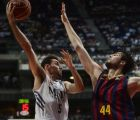 MADRID, SPAIN - JUNE 19:  Rudy Fernandez (L) of Real Madrid vies for the ball with Ante Tomic (R) of Barcelona during the basketball match in Liga Endesa play-off final at Palacio de Deportes de la Comunidad de Madrid in Madrid, Spain, June 19, 2014. (Photo by Evrim Aydin - Anadolu Agency)