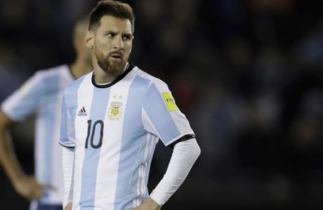 Argentina's Lionel Messi reacts during a 2018 World Cup qualifying soccer match against Venezuela in Buenos Aires, Argentina, Tuesday, Sept. 5, 2017. (AP Photo/Victor R. Caivano)