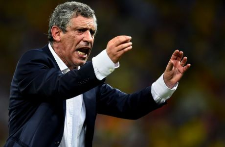 FORTALEZA, BRAZIL - JUNE 24:  Head coach Fernando Santos of Greece gestures during the 2014 FIFA World Cup Brazil Group C match between Greece and Cote D'Ivoire at Estadio Castelao on June 24, 2014 in Fortaleza, Brazil.  (Photo by Lars Baron - FIFA/FIFA via Getty Images)