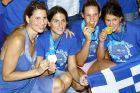 Οι Εύη Μωραϊτίδου, Κική Λιόση, Χριστίνα Τσουκαλά, Αλεξάνδρα Ασημάκη της Εθνικής Ελλάδας με το χρυσό μετάλλιο από το Παγκόσμιο Πρωτάθλημα 2011 στην επιστροφή τους στο 'Ελευθέριος Βενιζέλος' | Κυριακή 31 Ιουλίου 2011