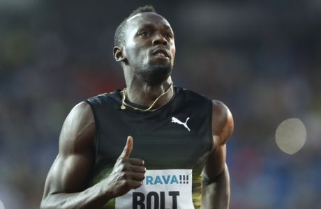 Usain Bolt from Jamaica competes to win the 100 meters men's event at the Golden Spike athletic meeting in Ostrava, Czech Republic, Wednesday, June 28, 2017. (AP Photo/Petr David Josek)