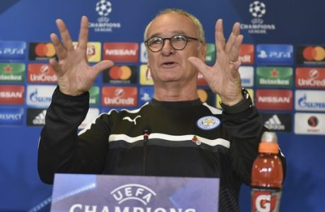 Leicester City's head coach Claudio Ranieri, of Italy, during a news conference before the Champions League group G soccer match against FC Copenhagen, in Denmark, Tuesday, Nov. 1, 2016. (Lars Poulsen/Polfoto via AP)