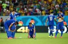 RECIFE, BRAZIL - JUNE 29:  (L-R) Theofanis Gekas, Sokratis Papastathopoulos, Giorgos Samaras, Vasilis Torosidis, Giorgos Karagounis and Lazaros Christodoulopoulos of Greece react after being defeated by Costa Rica in a penalty shootout during the 2014 FIFA World Cup Brazil Round of 16 match between Costa Rica and Greece at Arena Pernambuco on June 29, 2014 in Recife, Brazil.  (Photo by Ian Walton/Getty Images)