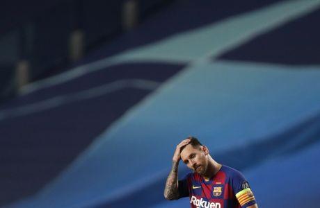 Ο Λιονέλ Μέσι της Μπαρτσελόνα σε στιγμιότυπο της αναμέτρησης με την Μπάγερν για τα προημιτελικά του Champions League 2019-2020 στο 'Λουζ' της Λισαβόνας | Παρασκευή 14 Αυγούστου 2020