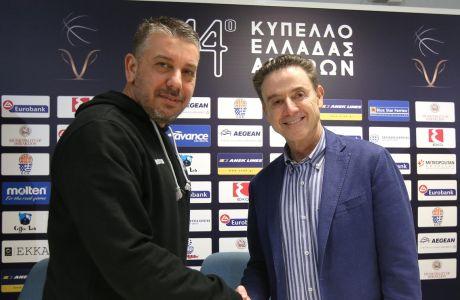 Ο Ρικ Πιτίνο με τον Ηλία Παπαθεοδώρου, ο οποίος λέγεται ότι τελικά δεν θα συμμετάσχει στο επιτελείο του Αμερικανού τεχνικού για το προολυμπιακό τουρνουά. Οι άλλοι τρεις είναι ο Θανάσης Σκουρτόπουλος, ο Σωτήρης Μανωλόπουλος και ο Νίκος Παππάς. Μέχρι αποδείξεως του εναντίου, βέβαια