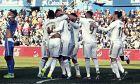 Οι ποδοσφαιριστές της Ρεάλ Μαδρίτης πανηγυρίζουν το 3-0 επί της Χετάφε
