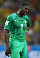 FORTALEZA, BRAZIL - JUNE 24:  A dejected Kolo Toure of the Ivory Coast looks on during the 2014 FIFA World Cup Brazil Group C match between Greece and the Ivory Coast at Castelao on June 24, 2014 in Fortaleza, Brazil.  (Photo by Laurence Griffiths/Getty Images)