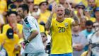 Sweden's John Guidetti, right, reacts after a missed chance to score during the Euro 2016 Group E soccer match between Italy and Sweden at the Stadium municipal in Toulouse, France, Friday, June 17, 2016. (AP Photo/Andrew Medichini)