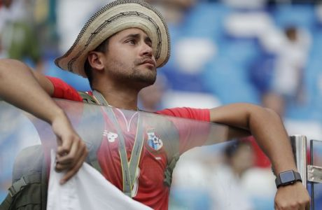 A Panama supporter reacts after his team's 6-1 loss in their group G match against England at the 2018 soccer World Cup at the Nizhny Novgorod Stadium in Nizhny Novgorod , Russia, Sunday, June 24, 2018. (AP Photo/Matthias Schrader)