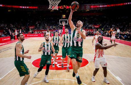 Ο Νικ Καλάθης του Παναθηναϊκού ΟΠΑΠ σε στιγμιότυπο της αναμέτρησης με τον Ερυθρό Αστέρα για την κανονική διάρκεια της Euroleague 2019-2020 στη 'Σταρκ Αρένα', Βελιγράδι, Τετάρτη 5 Φεβρουαρίου 2020