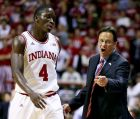 Indiana head coach Tom Crean talks to Victor Oladipo during the first half of an NCAA college basketball game against Bryant, Friday, Nov. 9, 2012, in Bloomington, Ind. (AP Photo/Darron Cummings)