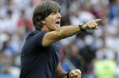 Germany head coach Joachim Loew shouts during the group F match between South Korea and Germany, at the 2018 soccer World Cup in the Kazan Arena in Kazan, Russia, Wednesday, June 27, 2018. (AP Photo/Lee Jin-man)