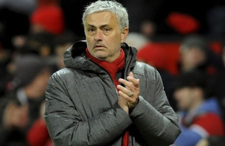 Manchester United manager Jose Mourinho during the English Premier League soccer match between Manchester United and Stoke City at Old Trafford in Manchester, England, Monday, Jan. 15, 2018. (AP Photo/Rui Vieira)