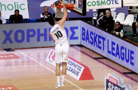 Ο Ιωάννης Παπαπέτρου του Παναθηναϊκού ΟΠΑΠ σε στιγμιότυπο της αναμέτρησης με το Λαύριο για την ΕΚΟ Basket League 2019-2020 στο κλειστό του ΟΑΚΑ, Κυριακή 12 Ιανουαρίου 2020