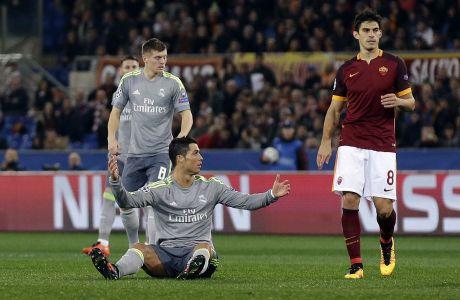 Ο Κριστιάνο Ρονάλντο της Ρεάλ Μαδρίτης σε στιγμιότυπο του αγώνα με τη Ρόμα για το πρώτο παιχνίδι της φάσης των 16 του Champions League 2015-2016 στο 'Ολίμπικο', Ρώμη, Τετάρτη 17 Φεβρουαρίου 2016