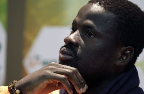Ivory Coast's Emmanuel Eboue talks to reporters, during a media conference in Vanderbijlpark, South Africa, Friday, June 18, 2010. Ivory Coast plays in Group G. (AP Photo/Yves Logghe)